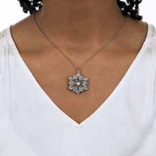 Victorian Diamond and Ruby Flower Pendant
