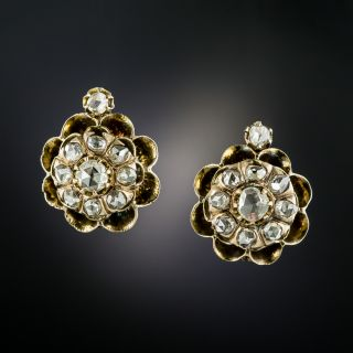 Victorian Diamond Cluster Earrings - 3