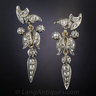 Victorian Diamond Drop Earrings - 1
