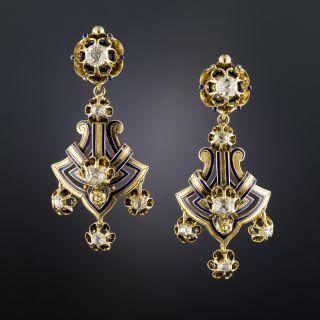 Victorian Diamond Drop Earrings with Blue Enamel
