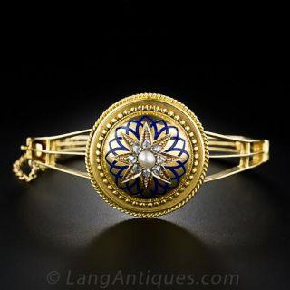 Victorian Diamond, Enamel and Natural Pearl Bangle Bracelet - 1