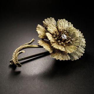 Victorian Diamond Flower Brooch, Circa 1875