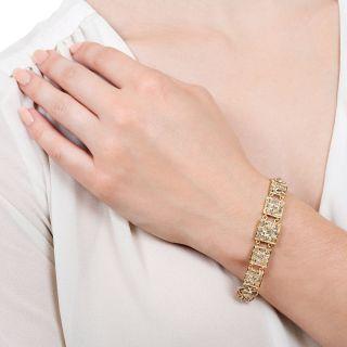 Victorian Diamond Link and Filigree Bracelet
