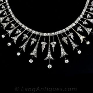 Victorian Diamond Necklace in Silver Over Gold - 1