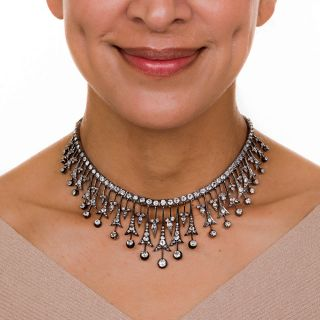 Victorian Diamond Necklace in Silver Over Gold