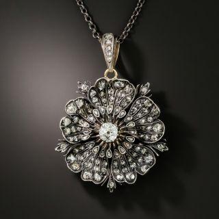 Victorian Diamond Pansy Flower Pendant - 3