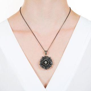 Victorian Diamond Pansy Flower Pendant