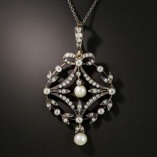 Victorian Diamond Pearl Pendant Necklace - 2