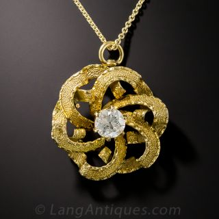 Victorian Diamond Pinwheel Pendant  - 2