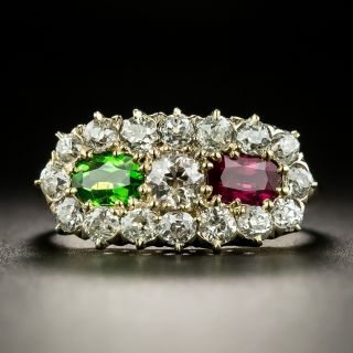 Victorian Diamond, Ruby and Demantoid Garnet Ring - 2