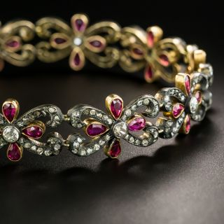 Victorian-Silver-Topped Gold Diamond and Ruby Flower and Scroll Bracelet - 3