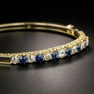 Victorian Diamond Sapphire Bangle Bracelet - 2