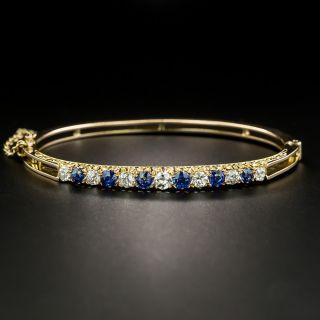 Victorian Diamond Sapphire Bangle Bracelet