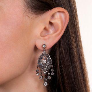 Victorian Diamond Silver over Gold Chandelier Earrings