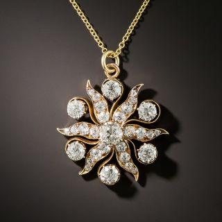 Victorian Diamond Sunburst Pendant - 5