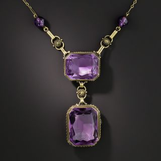 Victorian Double Amethyst Drop Necklace - 2