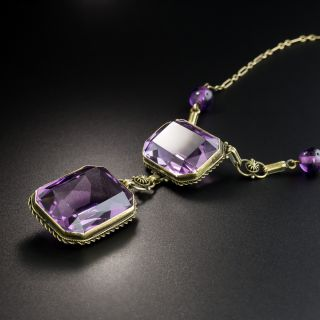Victorian Double Amethyst Drop Necklace