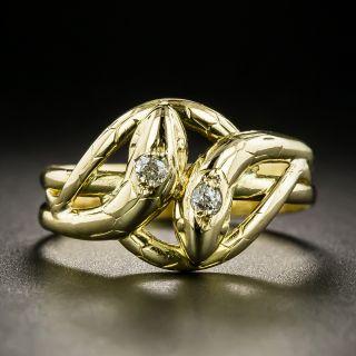 Victorian Double Diamond Snake Ring - 2