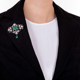 Victorian Emerald and Diamond Brooch