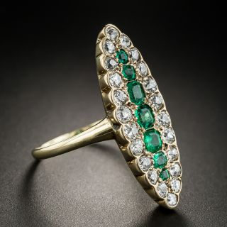 Victorian Emerald and Diamond Dinner Ring