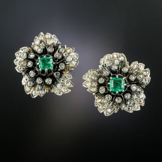 Victorian Emerald and Diamond Flower Earrings - 3