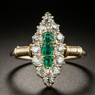 Victorian Emerald and Diamond Navette Ring  - 3