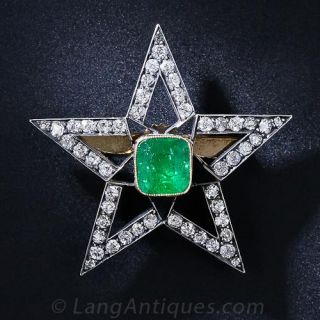 Victorian Emerald and Diamond Star Brooch / Pendant - 1