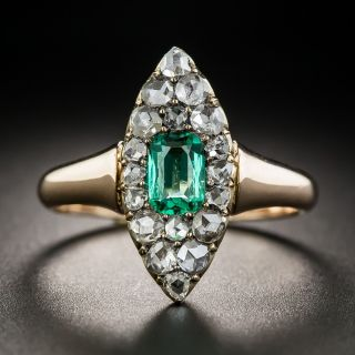 Victorian Emerald and Rose-Cut Diamond Ring