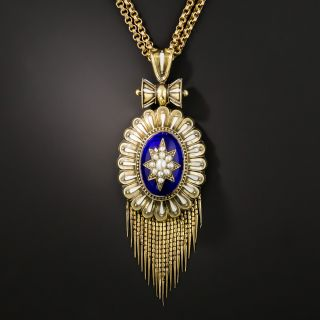 Victorian Enamel and Pearl Locket Pendant - 2