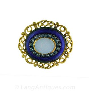 Victorian Enamel Opal and Diamond Oval Pin Main View