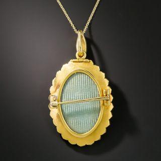 Victorian Enameled Crane Pendant/Brooch