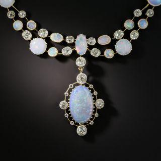 Victorian English Opal Diamond Festoon Necklace - 2