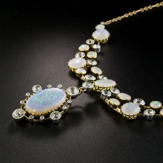 Victorian English Opal Diamond Festoon Necklace