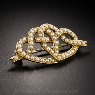 Victorian Entwined Hearts Brooch