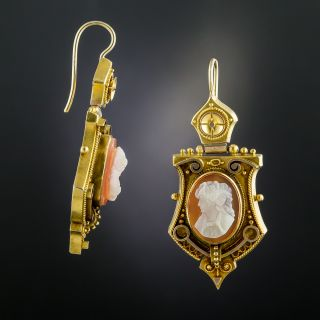 Victorian Etruscan Revival Cameo Earrings - 3
