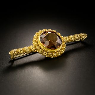 Victorian Etruscan Revival Citrine Brooch by Thomas F. Brogan - 3
