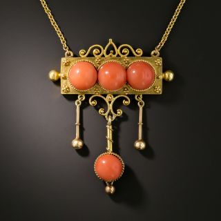 Victorian Etruscan Revival Coral Necklace - 2