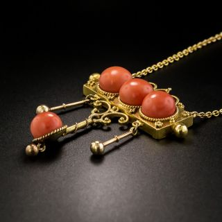 Victorian Etruscan Revival Coral Necklace