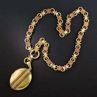Victorian Etruscan Revival Locket Necklace  - 1