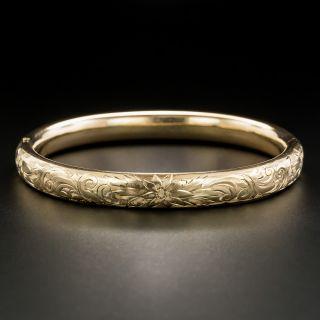 Victorian Floral Motif Engraved Bangle Bracelet