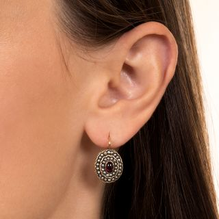 Victorian Garnet and Seed Pearl Earrings