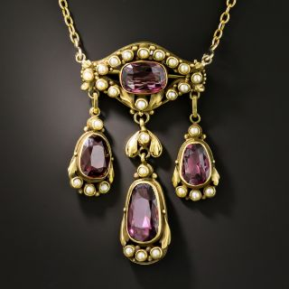 Victorian Garnet and Pearl Necklace/Brooch - 2