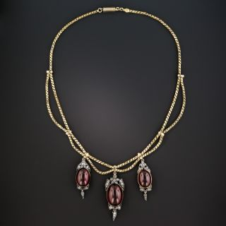 Victorian Garnet Carbuncle and Diamond Necklace