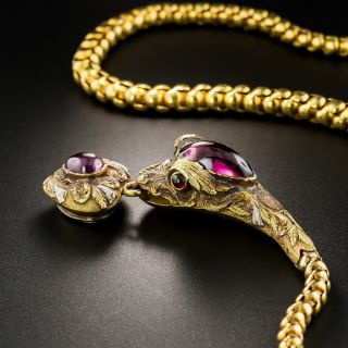 Victorian Garnet Snake Necklace by Hamilton Co. of Calcutta