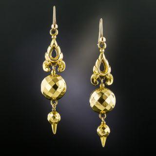 Victorian Gold Drop Earrings, Circa 1890