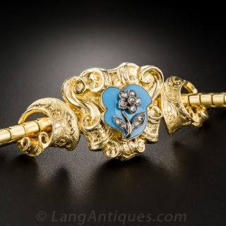 Victorian Gold, Enamel and Diamond Bracelet with Fitted Box - 1