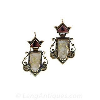 Victorian Gold in Quartz Earrings and Matching Brooch