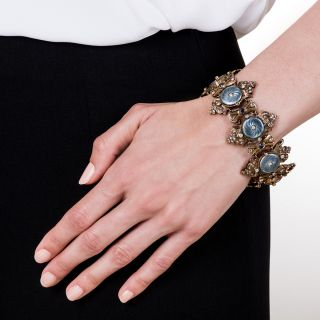 Victorian Guilloche Enamel, Diamond and Sapphire Bracelet