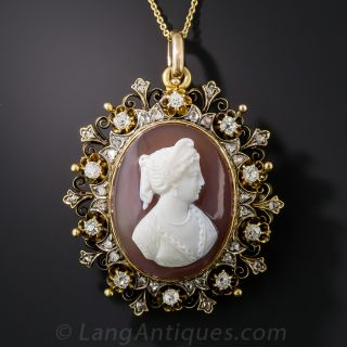 Victorian Hard Stone Cameo and Diamond Brooch/Pendant