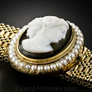 Victorian Hard Stone Cameo and Pearl Bracelet